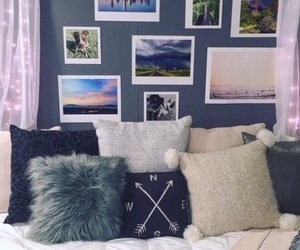 bedroom, blue, and pillows image