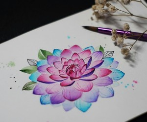art, lotus, and picture image