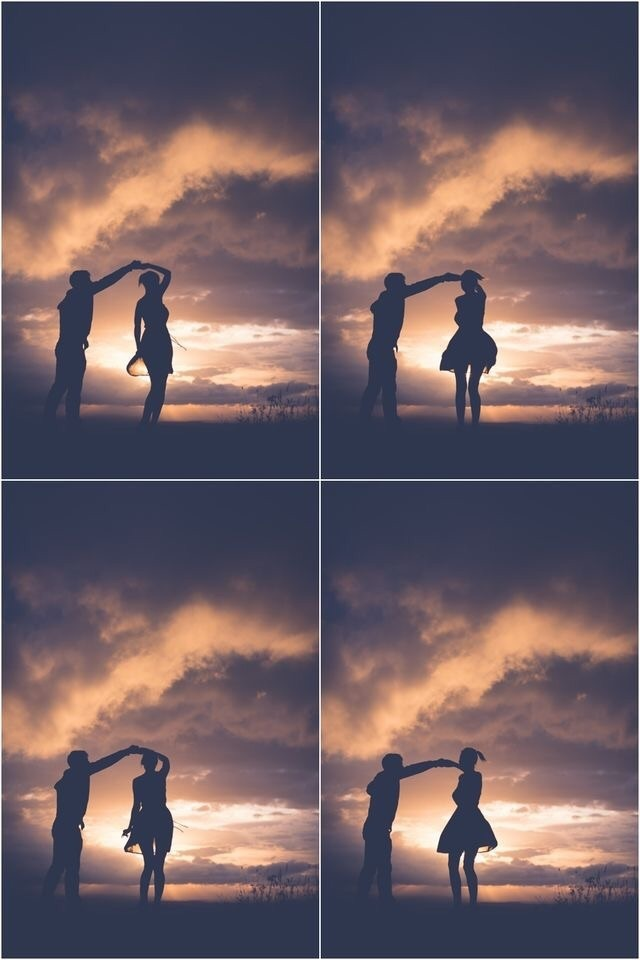 couple, dance, and clouds image