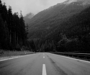 b&w, black and white, and road image