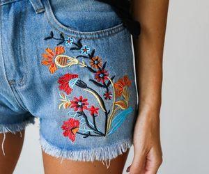 fashion, flowers, and denim image