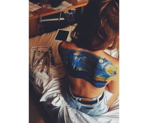 back, girl, and painting image