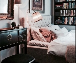 interior, bedroom, and books image