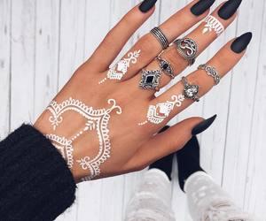 nails, henna, and black image