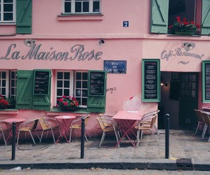pink, cafe, and city image
