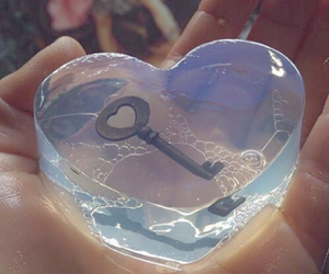 key, heart, and soap image