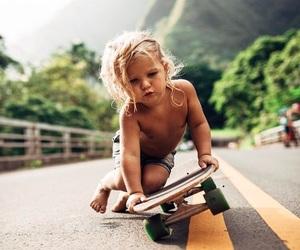 blonde, kid, and skateboarding image