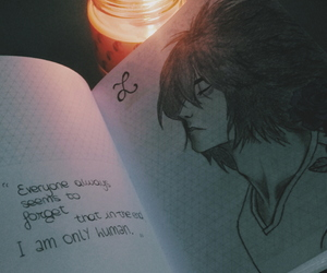 death note, diary, and drawing image