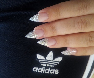 adidas, basic bitch, and nails image