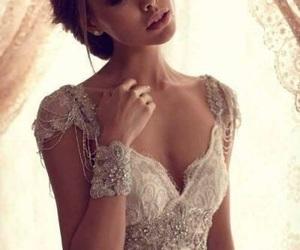 brunette, dress, and elegance image