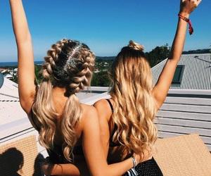 girls, blonde, and braids image