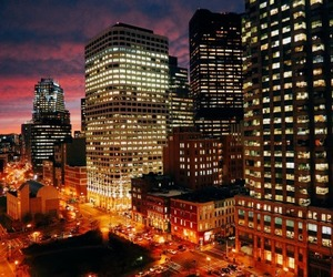 boston, city, and city lights image