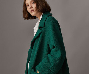 coat, emerald green, and massimo dutti image