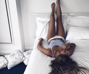 girl, Calvin Klein, and bed image