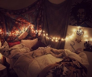 bedroom, fairy lights, and tumblr image