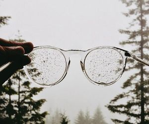 glasses, rain, and nature image