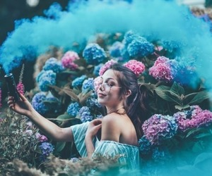 photography, girl, and flowers image
