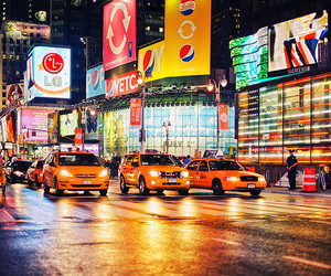 new york, light, and taxi image