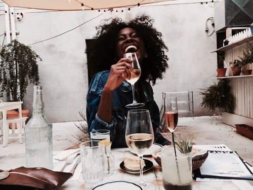 smile, wine, and beauty image