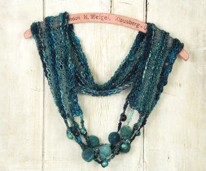 etsy, knit infinity scarf, and bohemian clothing image
