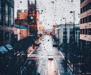 city, rain, and day image
