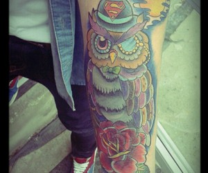 owl, tattoo, and superman image