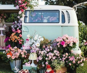 car, flower, and green image
