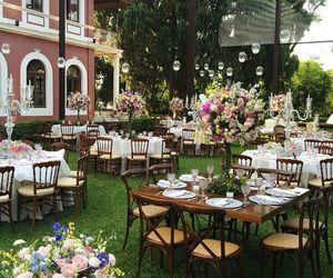 bride, decor, and garden image