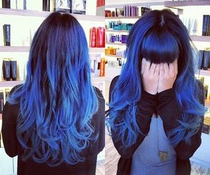 hair, multi-colored hair, and blue hair image