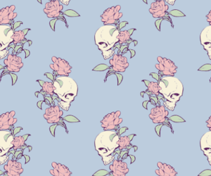 skull, rose, and blue image