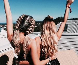 girls, blonde, and braids image