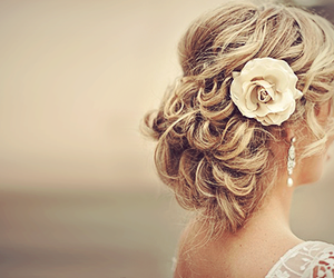 flower, updo, and loose hairdo image