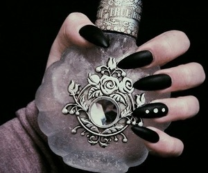 nails, black, and perfume image