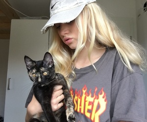 blond, cat, and girl image