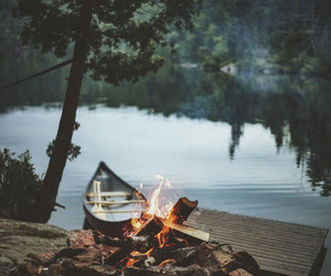 boat, fire, and travel image