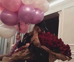 girl, birthday, and flowers image