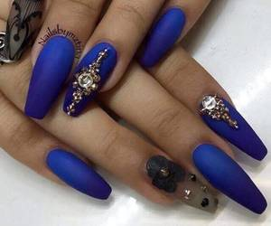 nails, blue, and coffin image