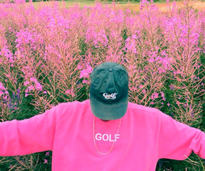 pink, flowers, and golf image