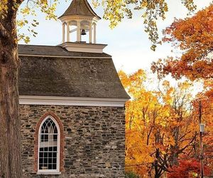 autumn, fall, and church image