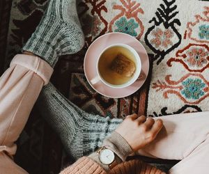 cozy, fall, and tea image