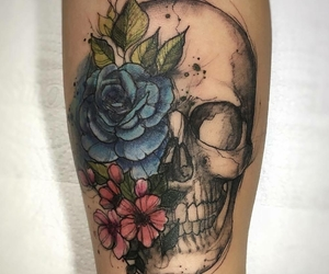 arm tattoo, tattoo, and skull image