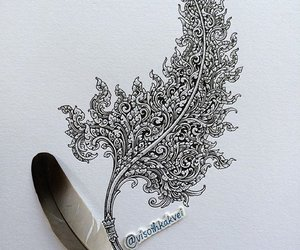 art, feather, and ink image
