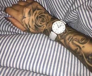 tattoo, hand tattoo, and rose tattoo image