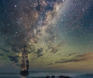 boat, night, and sky image