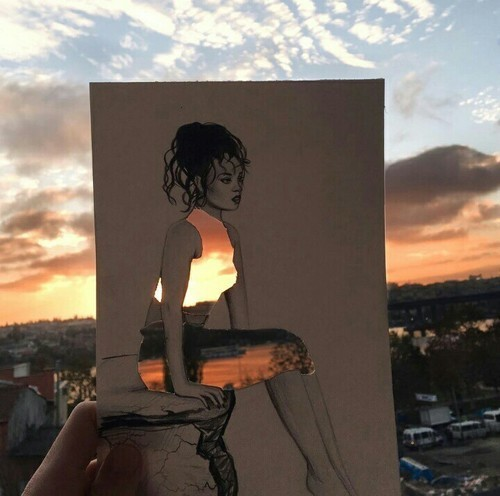 art, sunset, and sky image