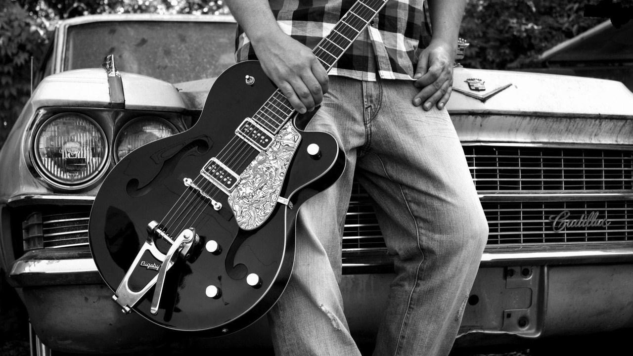 guitar, boy, and car image