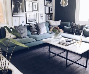 blue, couch, and cozy image
