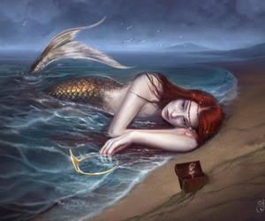 redhead mermaid beach image