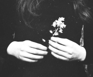 girl, flowers, and black image