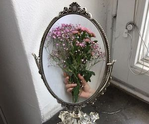flowers, mirror, and grunge image